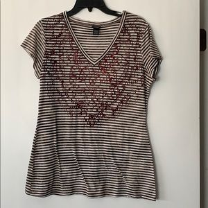 Vanity Brown & Red Striped T-Shirt Size XL